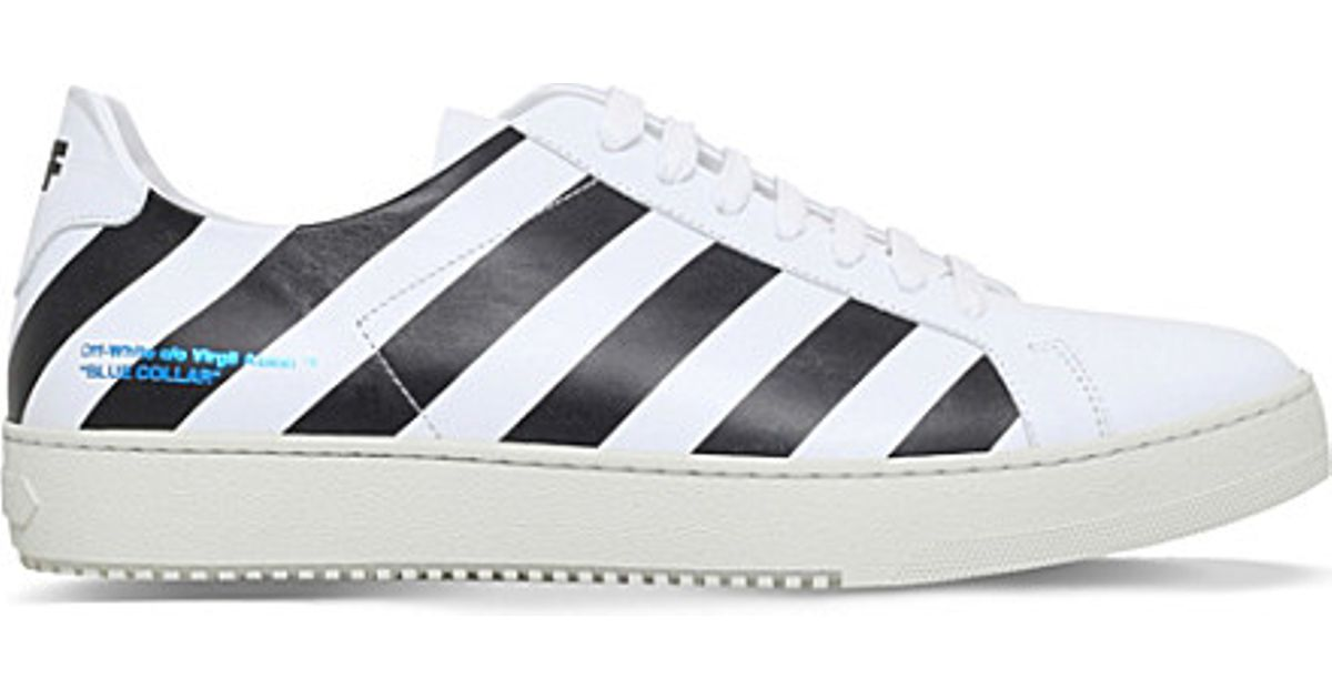 0ddb2a91461b9 Lyst - Off-White c o Virgil Abloh Striped Low-top Leather Trainers in Black  for Men