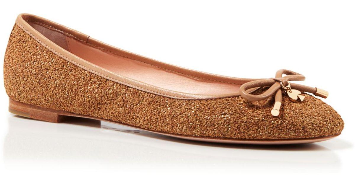 14463de90e Kate Spade Glitter Cork Ballet Flats - Willa in Brown - Lyst