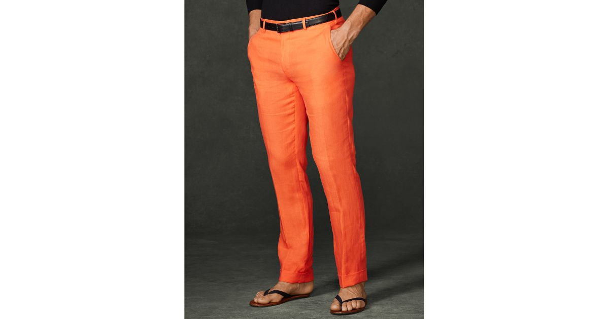 a932cb869 Ralph Lauren Purple Label Linen Harrison Pant in Orange for Men - Lyst