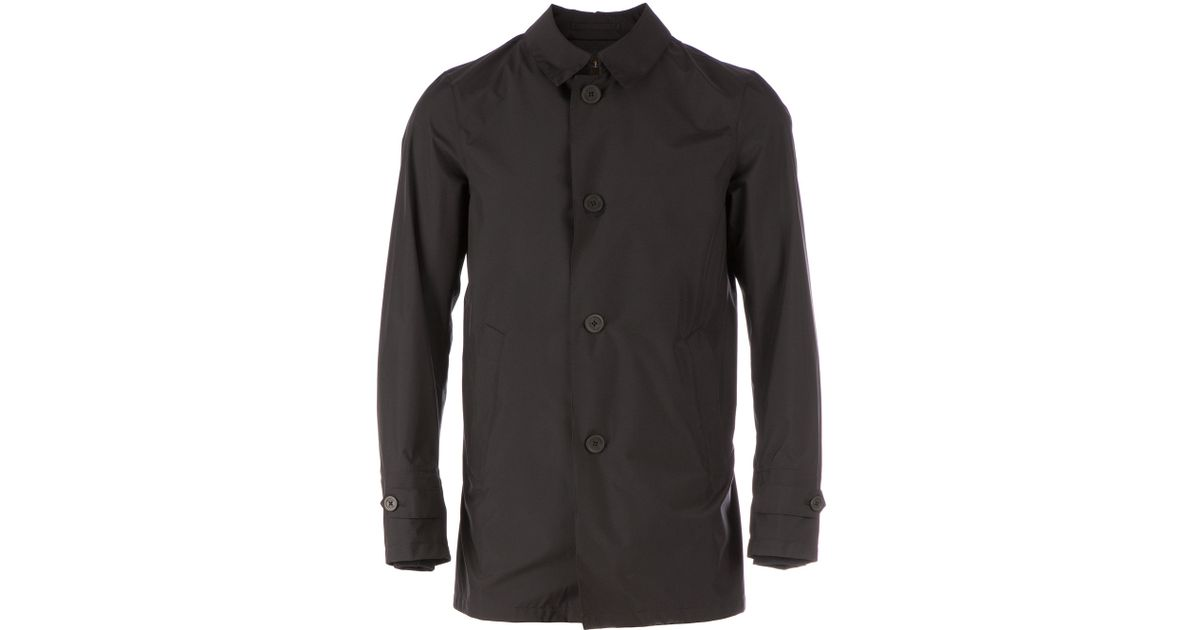 Herno Classic Car Coat in Black for Men | Lyst