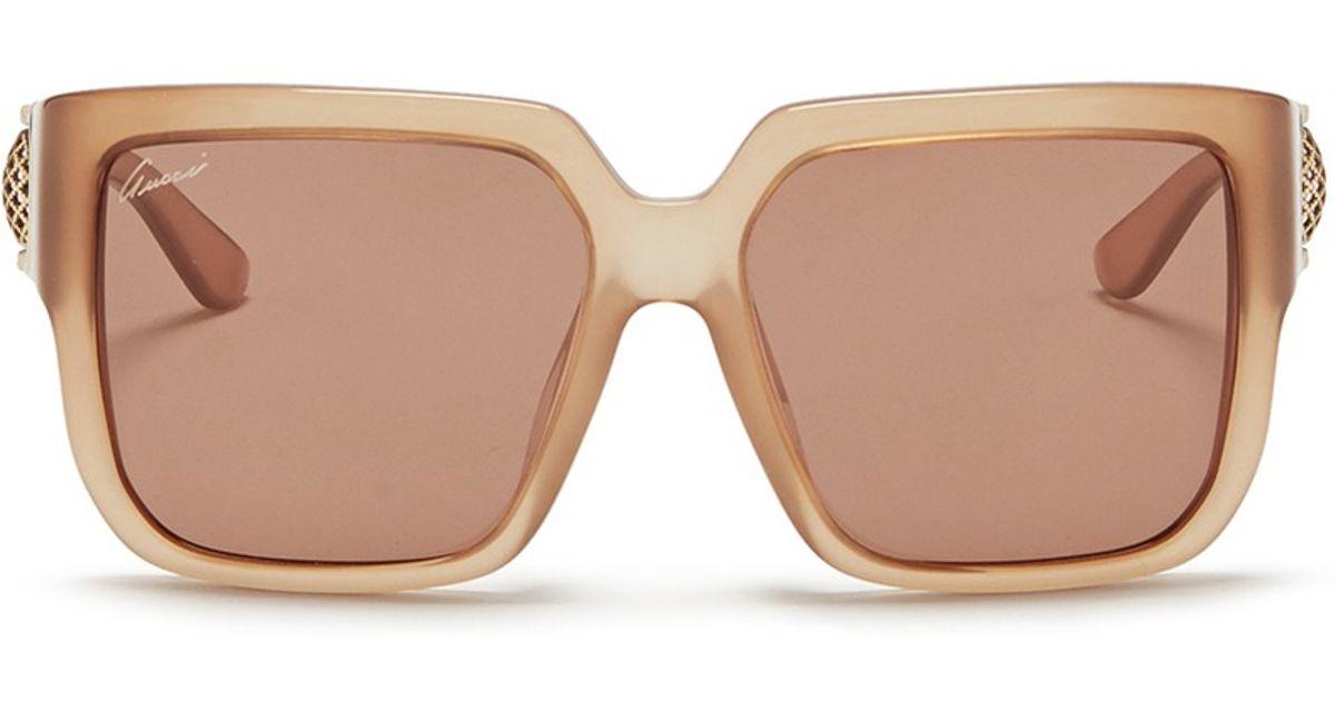 4acf069d24c Lyst - Gucci Horsebit Hinge Chunky Square Acetate Sunglasses in Natural