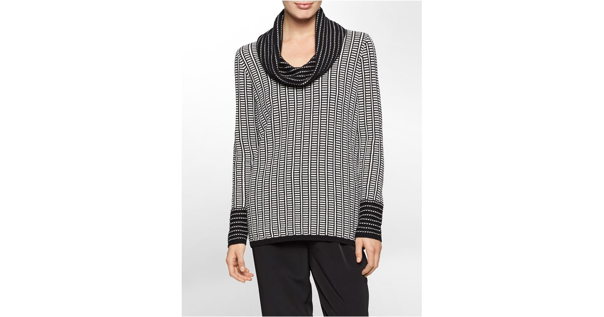 Calvin klein White Label Black   White Stripe Cowl Neck Sweater in ...