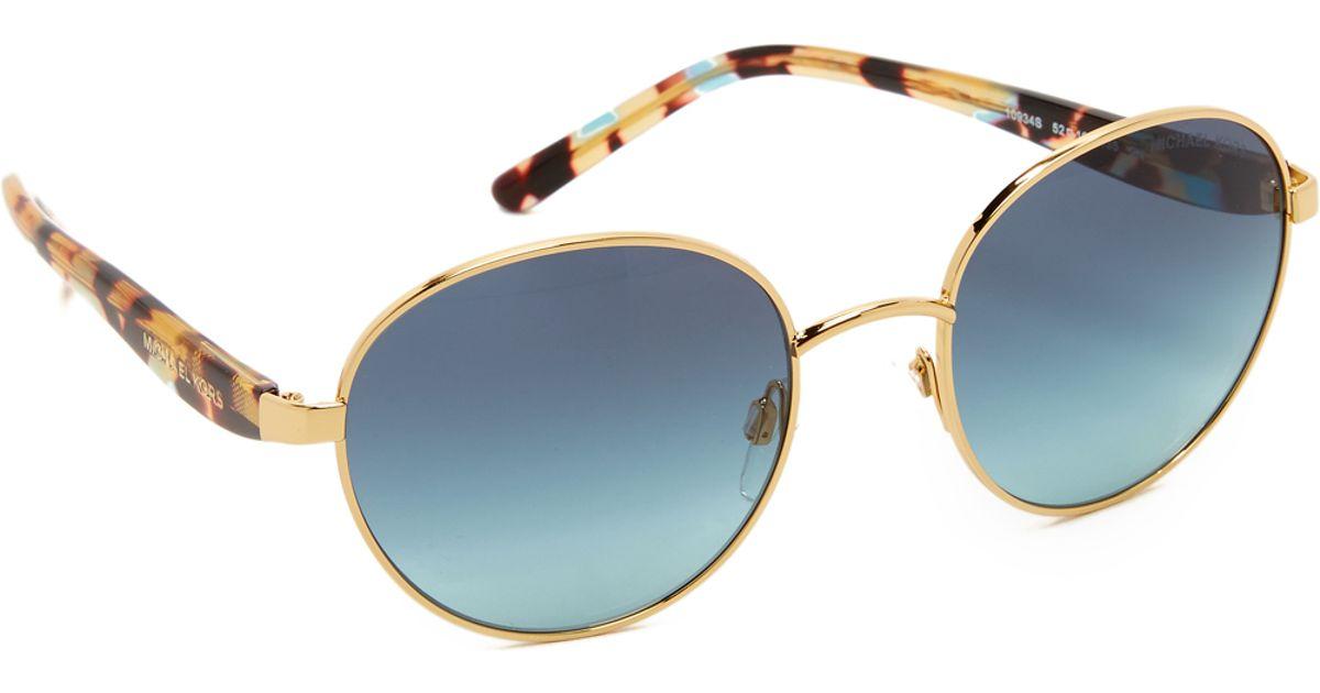 b89bd33f6621 Michael Kors Sadie Iii Sunglasses - Gold/teal Gradient in Metallic - Lyst