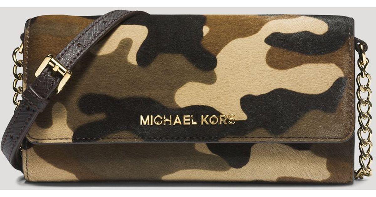 dbe47a153a189c MICHAEL Michael Kors Crossbody Jet Set Travel Printed Camo Haircalf Wallet  On A Chain - Lyst