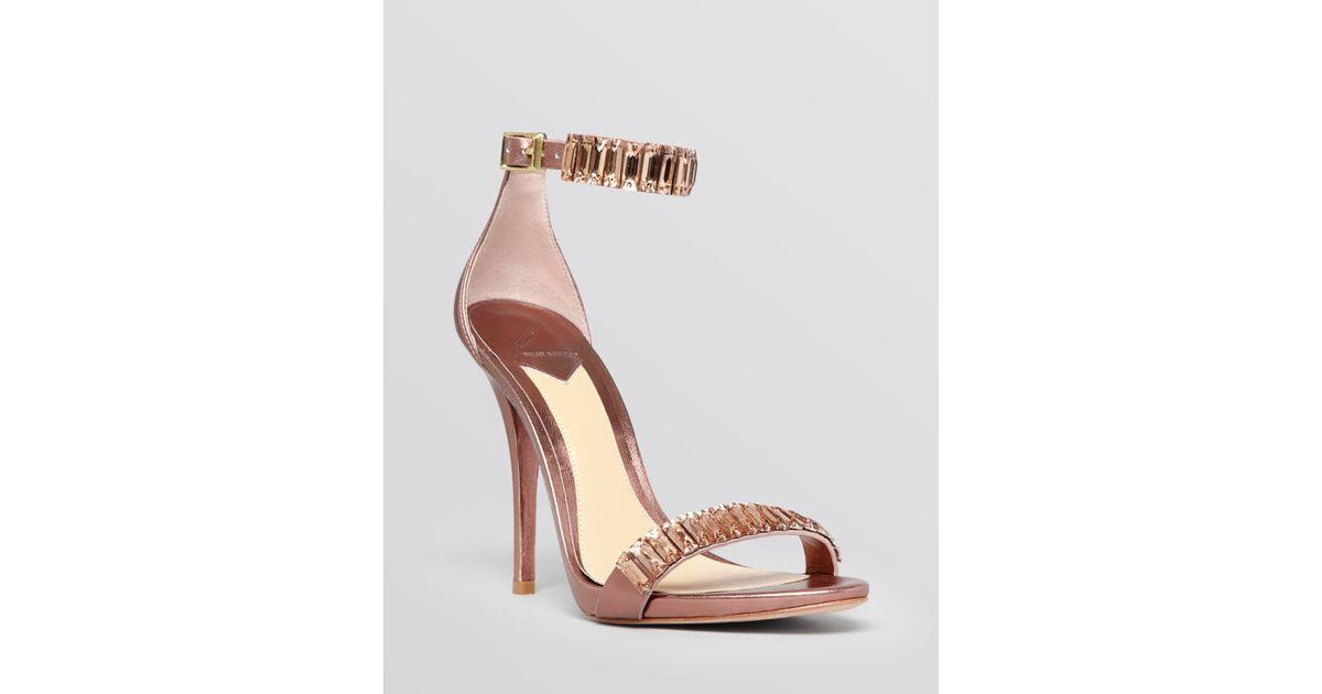 39e626fe4de B Brian Atwood Pink Open Toe Sandals - Ciara Beaded High Heel