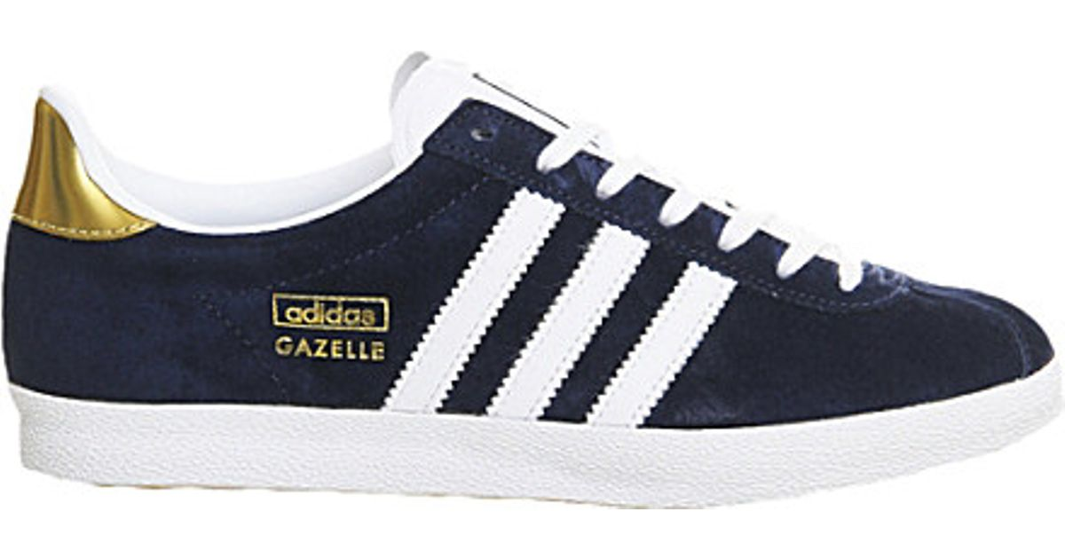 Adidas Gazelle Og Trainers, Women's, Size: 6, Indigo White Gold in Blue - Lyst