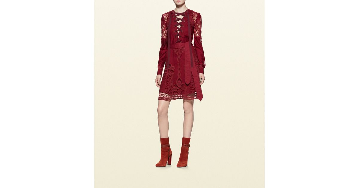 Gucci Red Broderie Anglaise Cotton Lace Up Dress