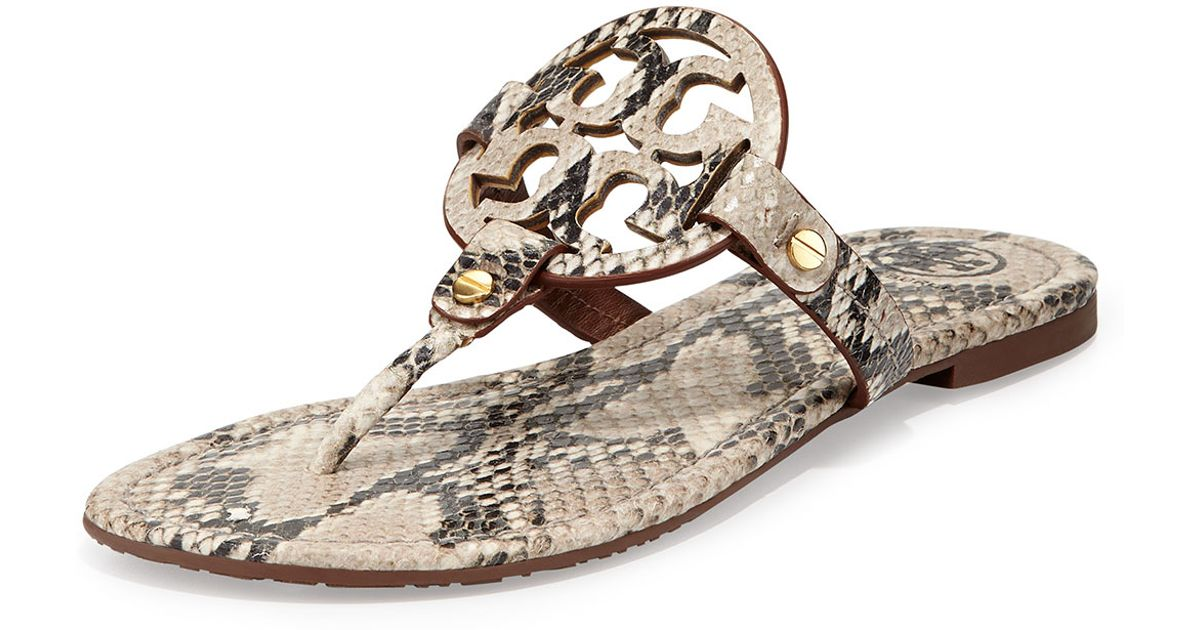 51a1a152d006c0 Lyst - Tory Burch Miller Snake-print Logo Thong Sandal in Natural