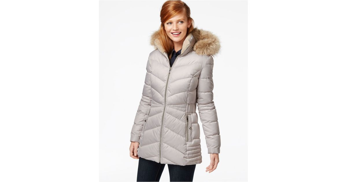 6b61cf2c5 INC International Concepts Gray Faux-fur-hood Quilted Down Coat