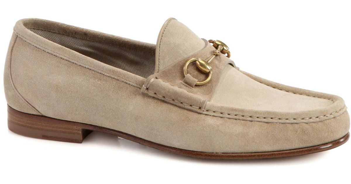 Gucci Roos Suede Horsebit Loafers in