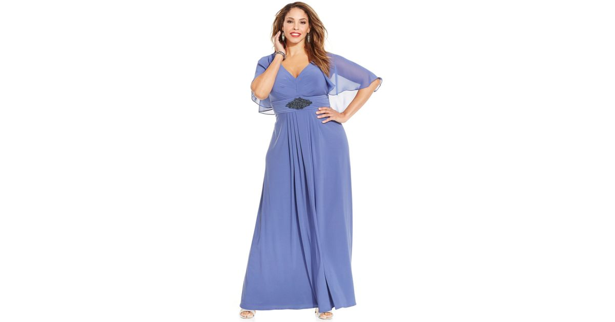 Lyst Patra Plus Size Long Dress With Attached Cape In Blue