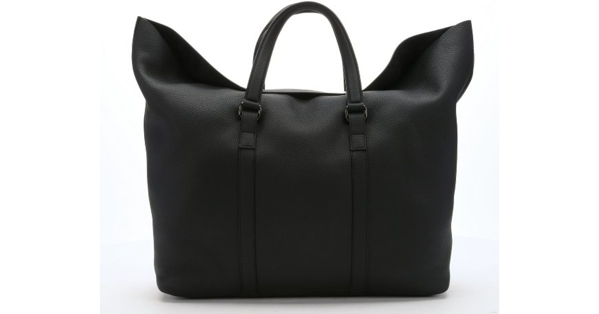 Gucci Black Leather Large Duffle Travel Tote in Black for Men | Lyst