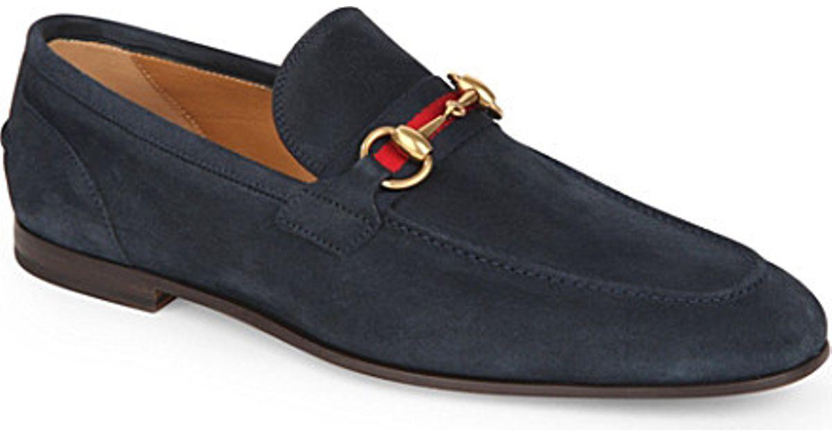 Gucci Horsebit Web Suede Shoes - For
