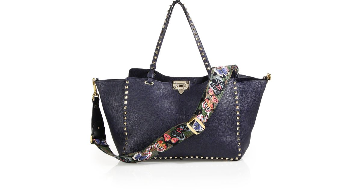 Lyst Valentino Camuerfly Embroidered Leather Handbag Strap In Green