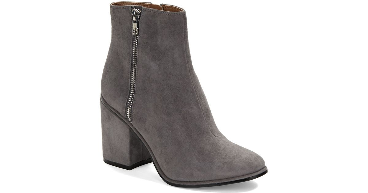 calvin klein cilil suede ankle boots in gray lyst