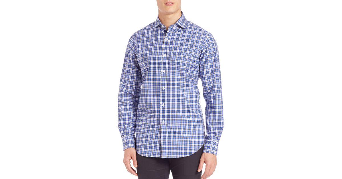 Polo Ralph Lauren Plaid Poplin Estate Shirt In Blue For