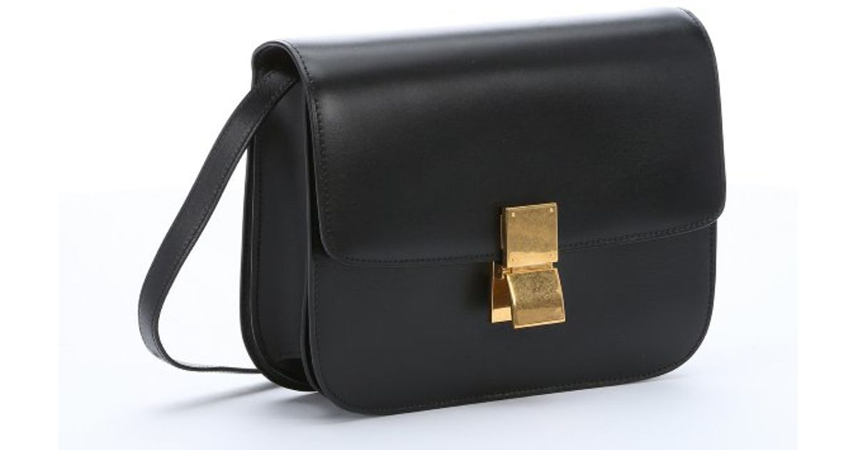Céline Black Leather Medium 'Classic Box' Shoulder Bag in Black   Lyst