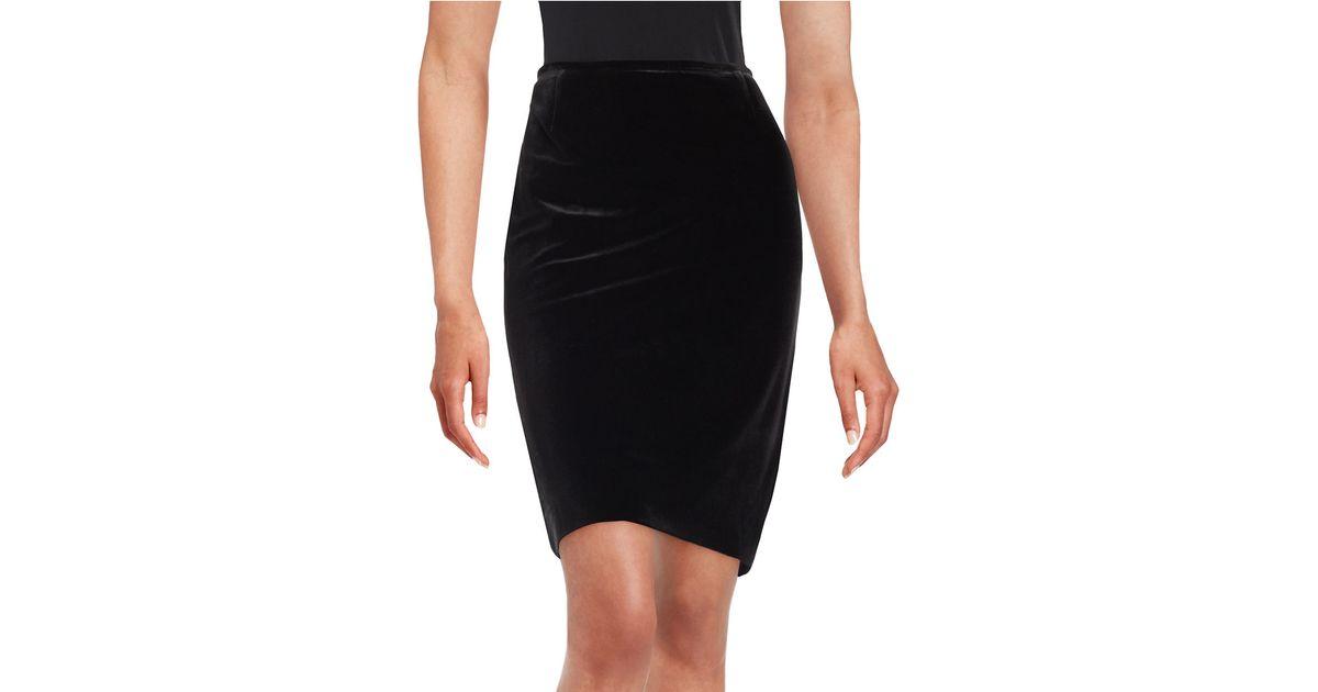 tahari velvet pencil skirt in black lyst