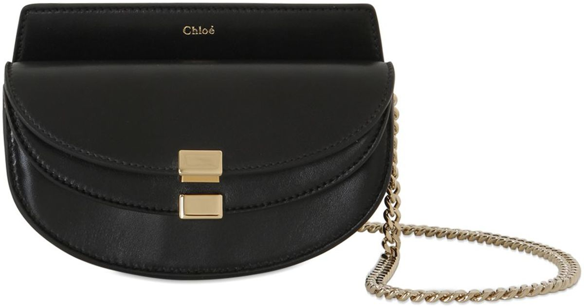 chloe satchel handbag - small georgia bag in nappa lambskin \u0026amp; small grain calfskin