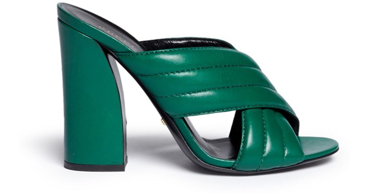 9038a9c1d3d584 Lyst - Gucci  webby  Ribbed Crisscross Leather Mule Sandals in Green