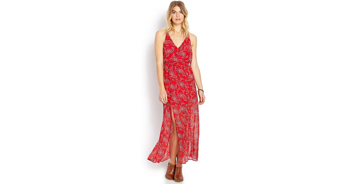 0f272a1ad19 Forever 21 Paisley Pop M-slit Maxi Dress in Red - Lyst