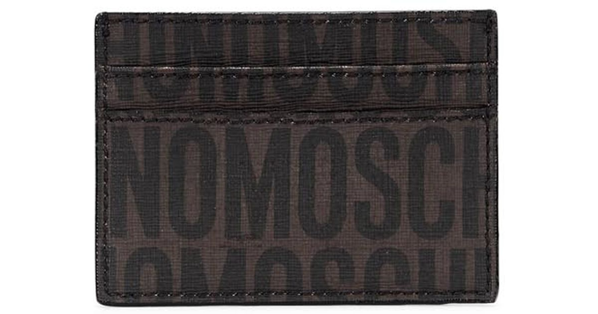 newest collection 2c155 edff0 Moschino Black Brown Monogrammed Card Holder for men