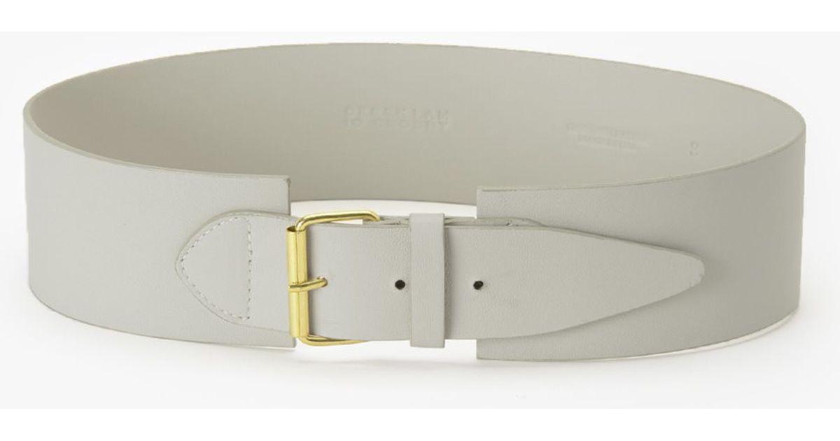 derek lam wide waist belt in white ivory lyst