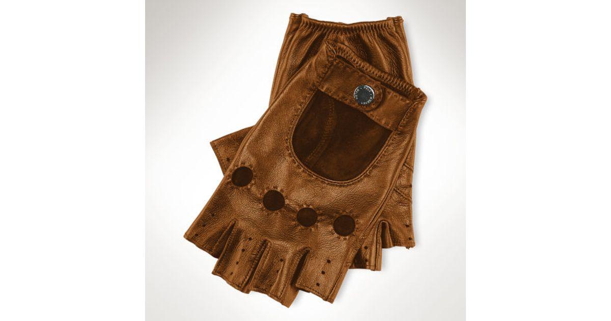 Brown Ralph Men Fingerless Driving Polo Gloves For Lauren 9EHIYWD2