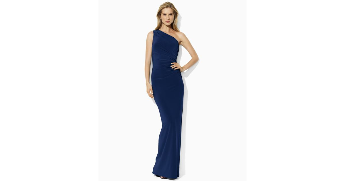a96537de5fc7 Lauren by Ralph Lauren One-Shoulder Evening Gown in Blue - Lyst