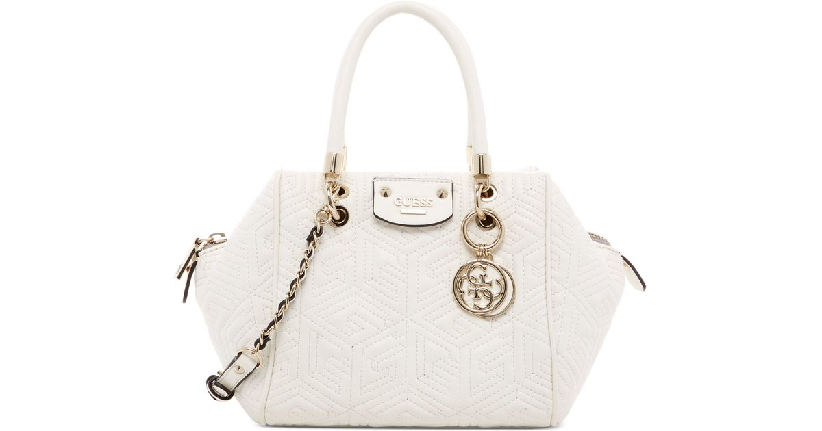 48c868102c89 Lyst - Guess G Cube Abbey Quilted Satchel in White