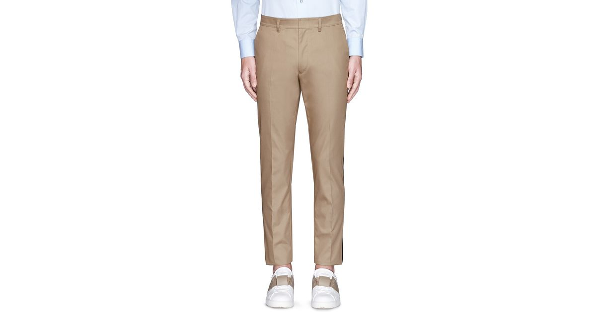 5ba6a05d4c33 Lyst - Valentino Tuxedo Stripe Cotton Cavalry Twill Pants in Natural for Men