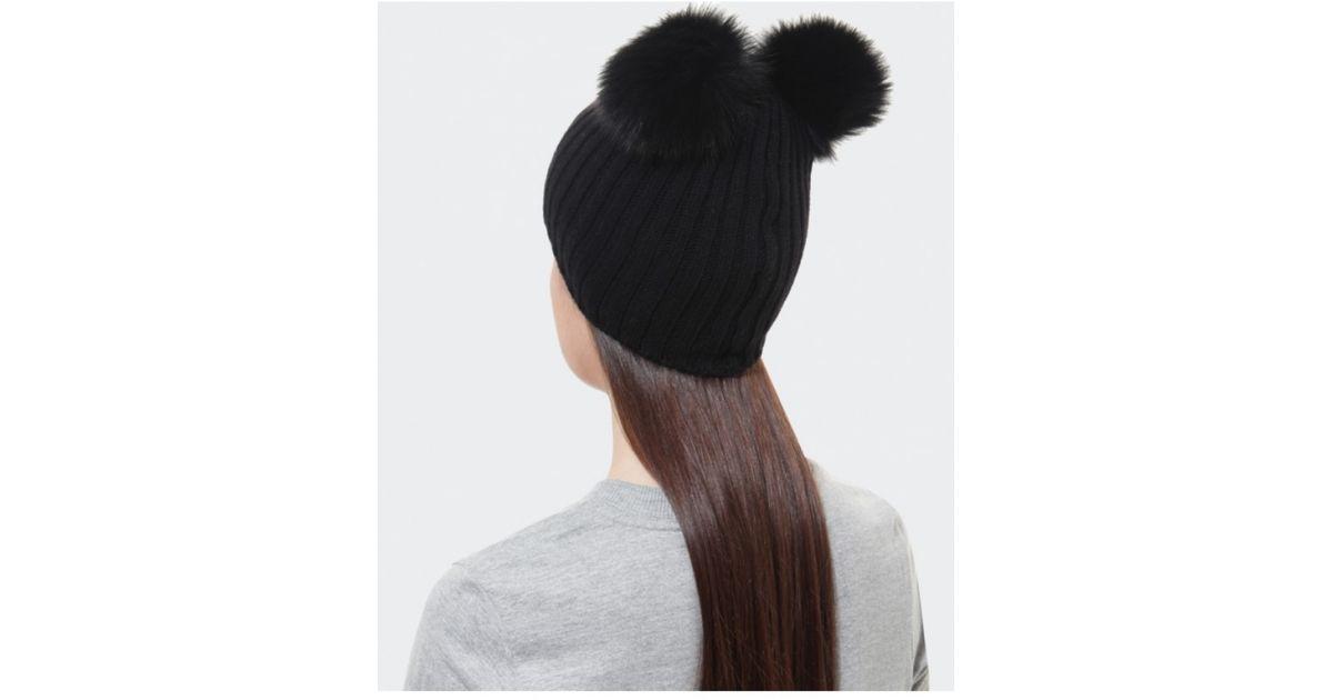 Helene Berman Double Pom Pom Beanie Hat in Black - Lyst 0fa2d8cc2121