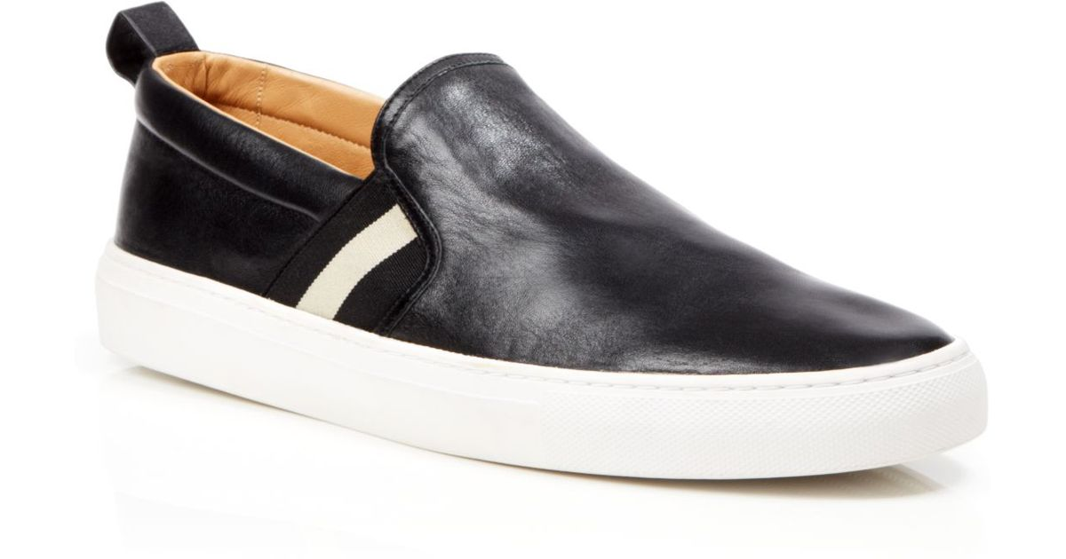 Bally Leather Slip On Sneakers in Black