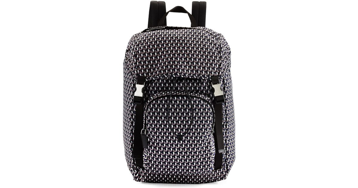 010d09b4862cd3 ... sale lyst prada octagon print nylon double buckle backpack in black for  men 82288 8646c