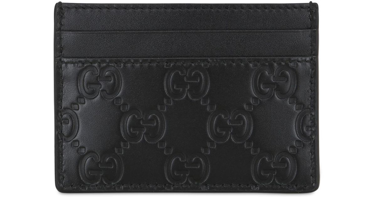 43cdc25179c7 Gucci Gg Embossed Leather Card Holder in Black - Lyst