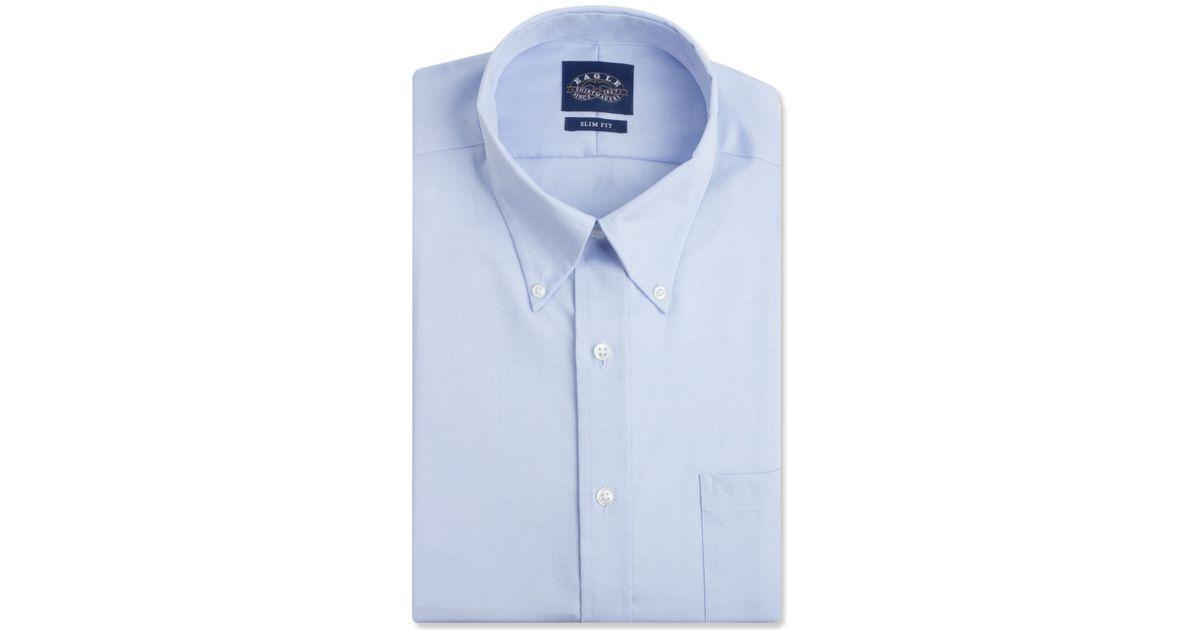Eagle men 39 s slim fit non iron pinpoint dress shirt in blue for No iron slim fit dress shirts