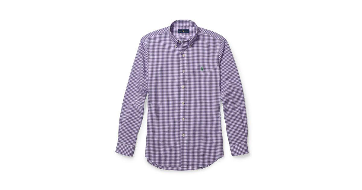 Polo Ralph Lauren Slim Fit Gingham Poplin Shirt In Purple