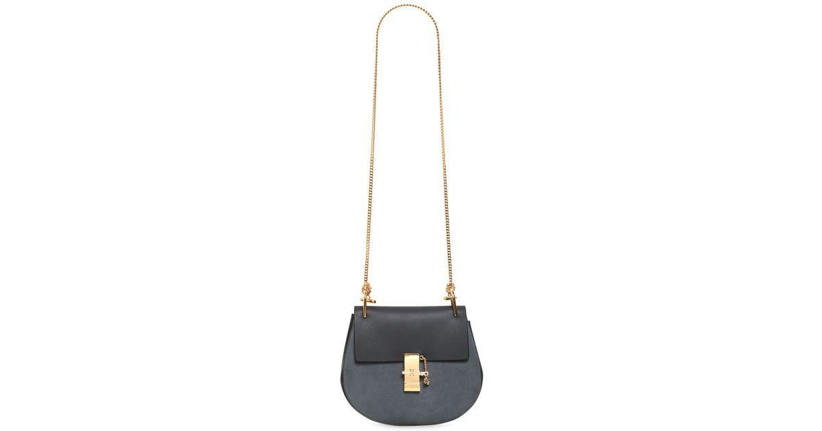 Chlo¨¦ Medium Drew Suede Leather Shoulder Bag in Blue (MERINO BLUE ...