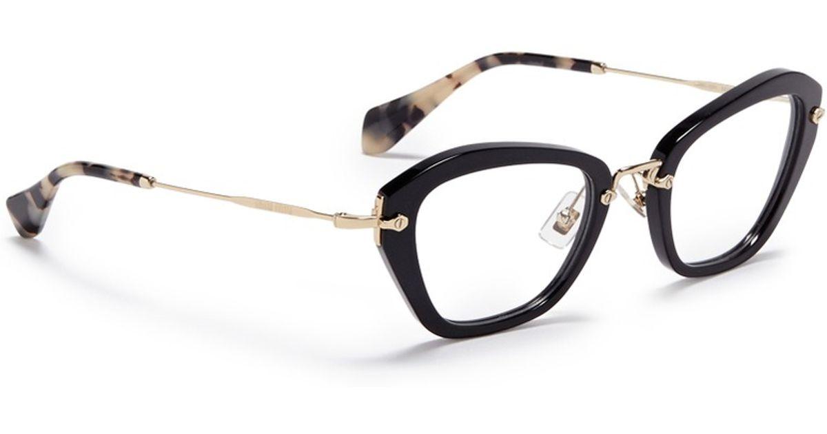 9343b2fce2 Lyst - Miu Miu  noir  Tortoiseshell Tip Optical Glasses in Black