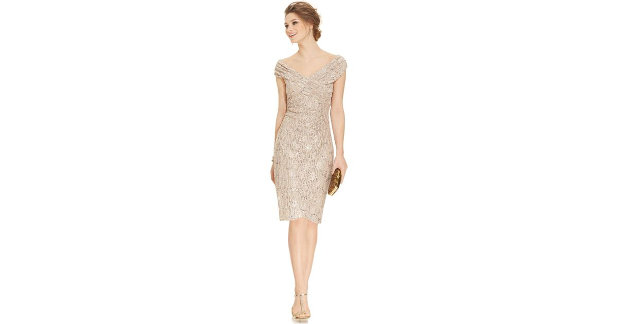 Alex Evenings Womens Plus-Size Off-the-Shoulder Sequin Lace Dress