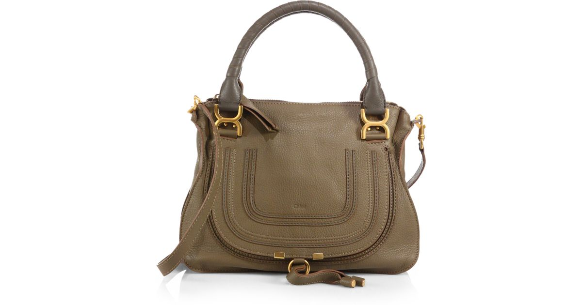 CHLOE Calfskin Large Marcie Satchel Anchor Grey