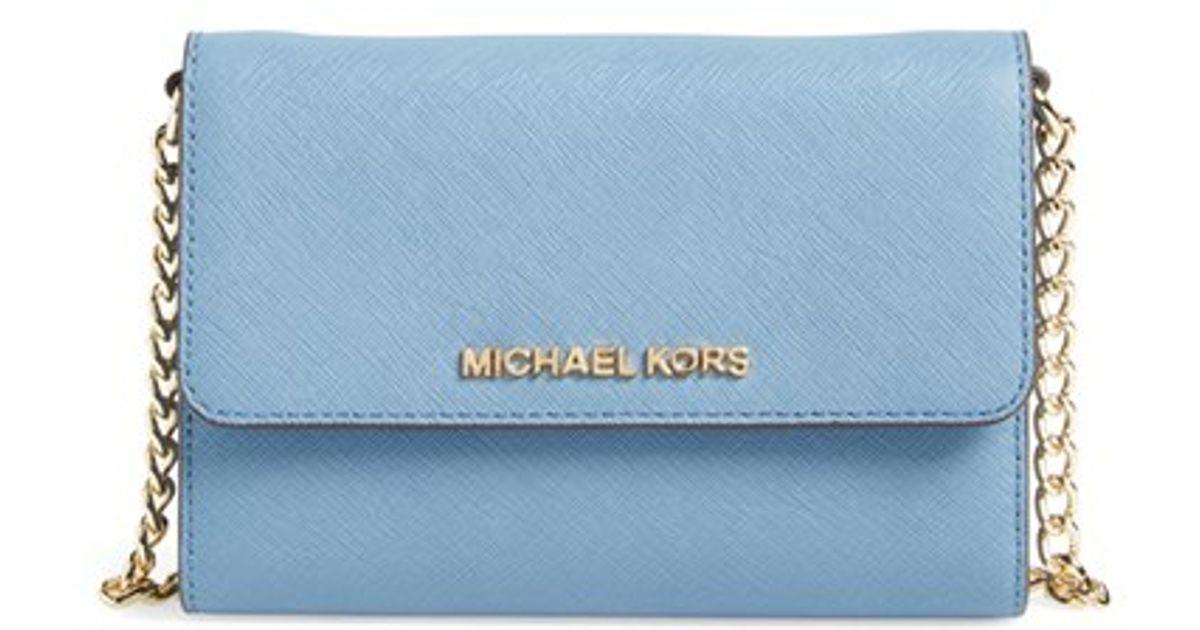c4f77a4f8d2473 MICHAEL Michael Kors 'jet Set - Large Phone' Saffiano Leather Crossbody Bag  in Blue - Lyst