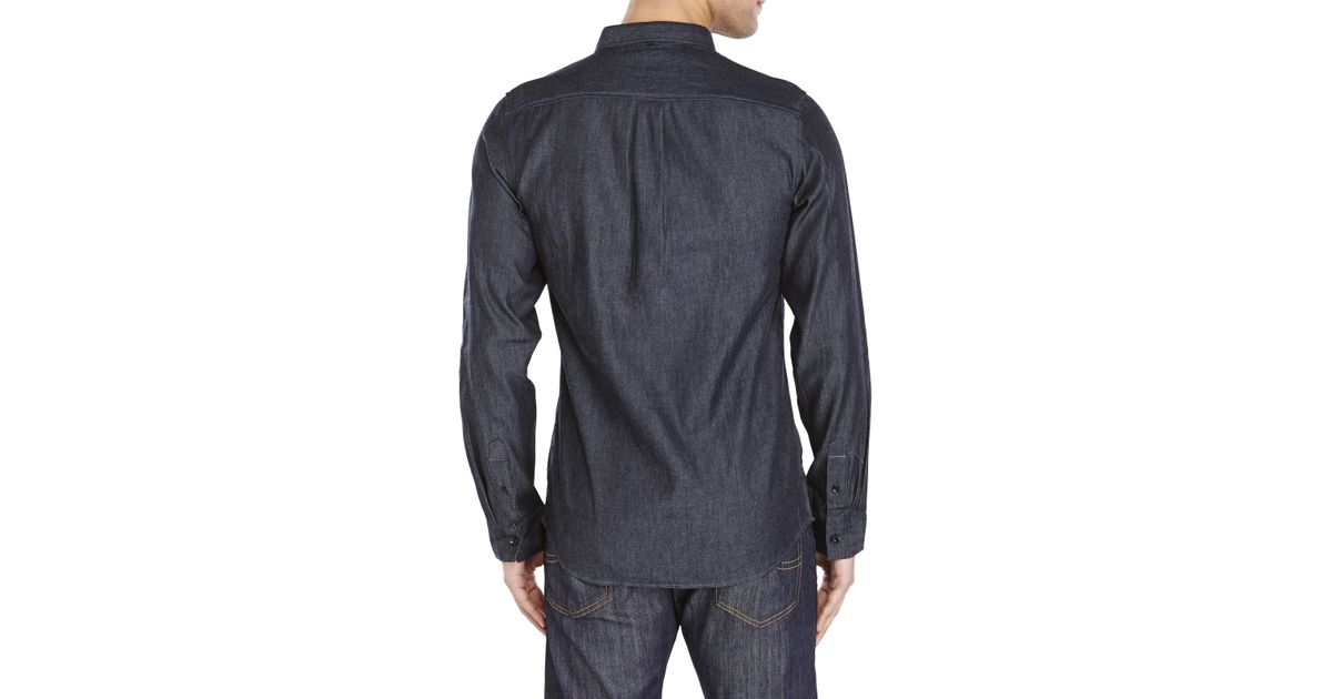 289cff74682 Lyst - Descendant Of Thieves Woven Denim Shirt in Blue for Men