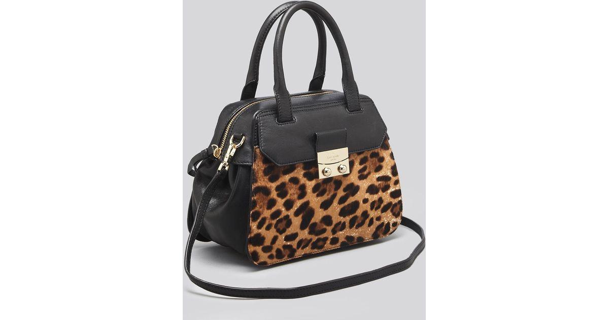 2dfa01c798f0 Kate Spade Satchel - Alice Street Luxe Small Adriana Leopard in Black - Lyst