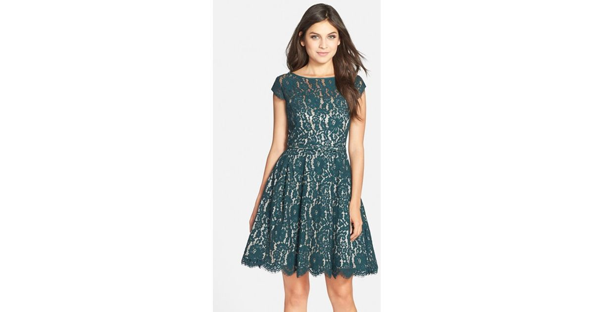 5ceb601817c Eliza J Cap Sleeve Lace Fit & Flare Dress in Green - Lyst