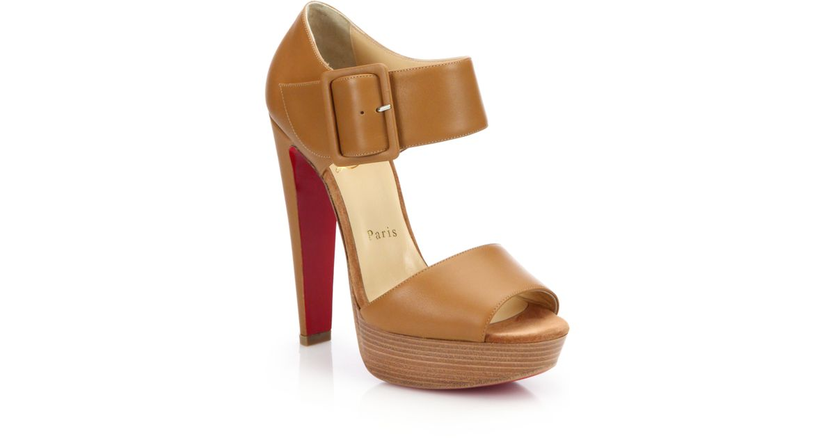 replica shoes louboutin - Christian louboutin Haute Retenue Leather Platform Sandals in ...