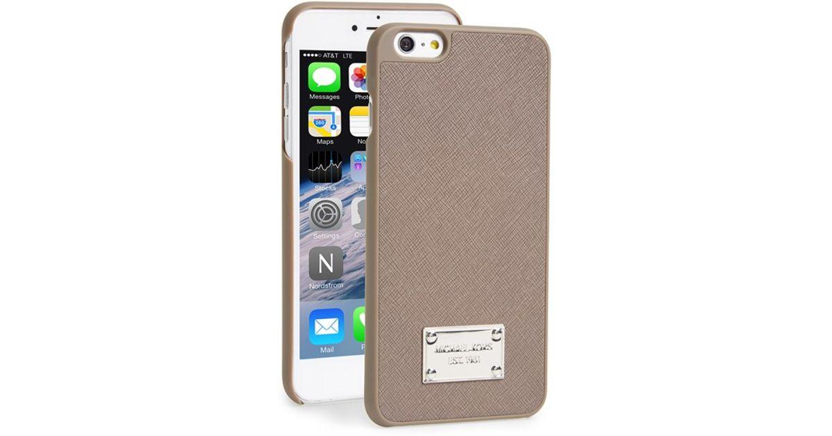 02978e040b17 MICHAEL Michael Kors Saffiano Leather Iphone 6 Plus & 6s Plus Case in Brown  - Lyst