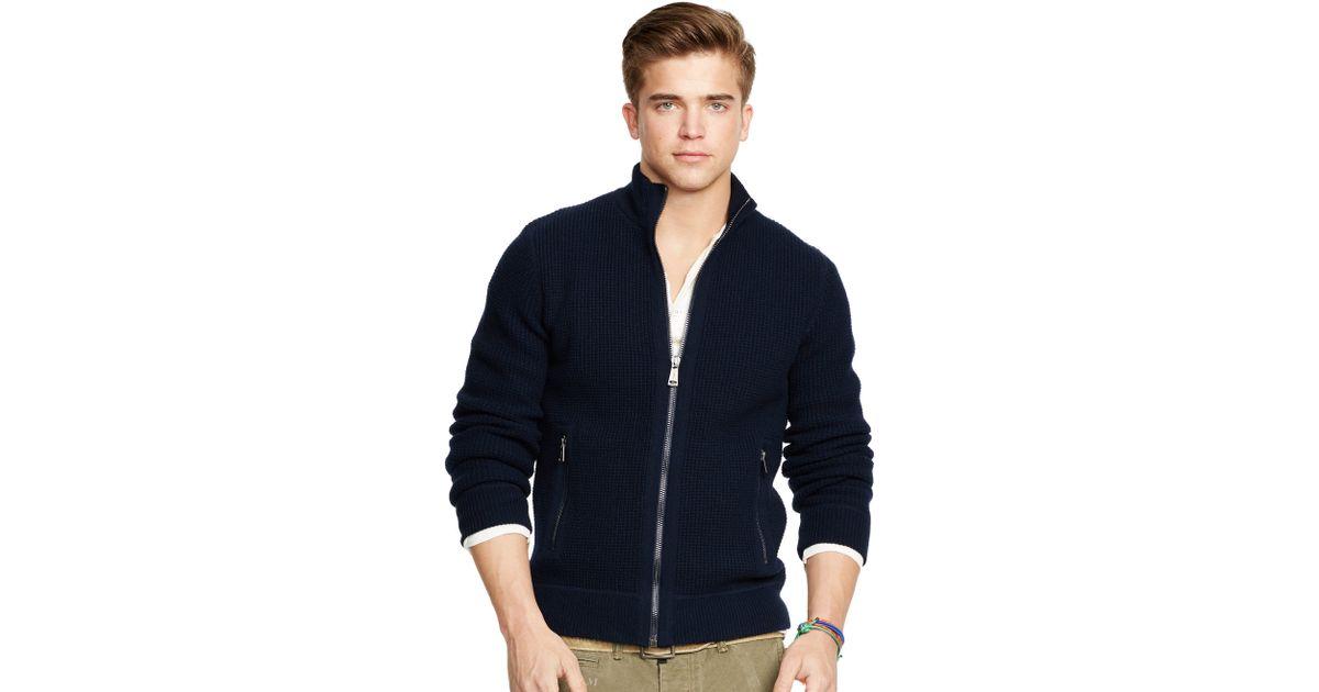 f54cbf2a5d Polo Ralph Lauren Blue Wool-blend Full-zip Sweater