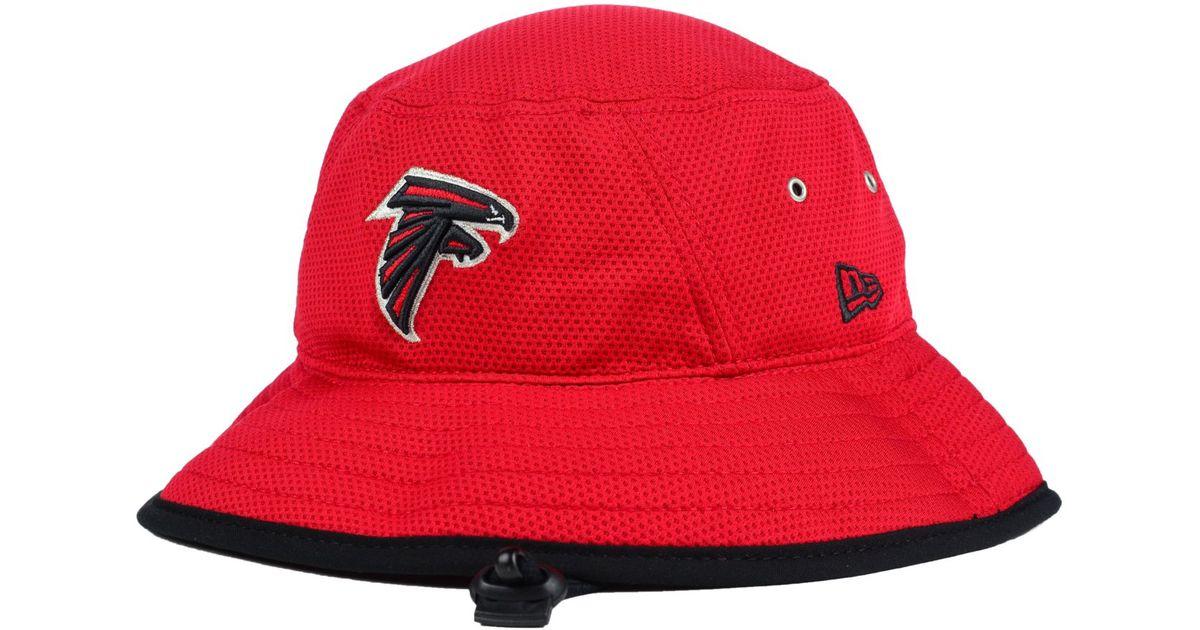 5b4f4a13bed Lyst - KTZ Atlanta Falcons Training Bucket Hat in Red for Men