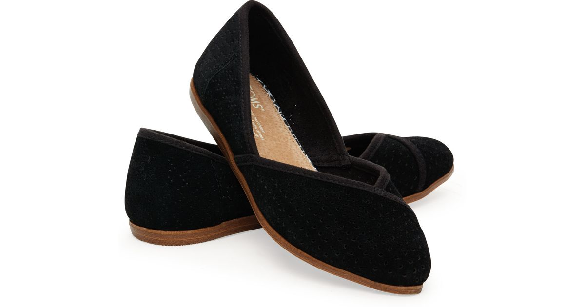 TOMS Black Suede Perforated Women's